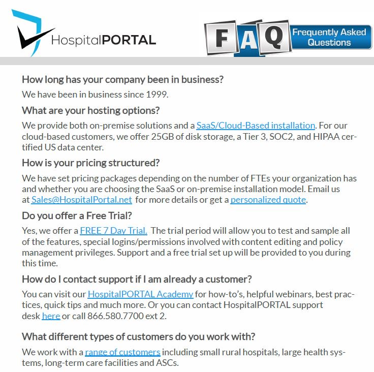 HospitalPORTAL Intranet Product FAQs eGuide