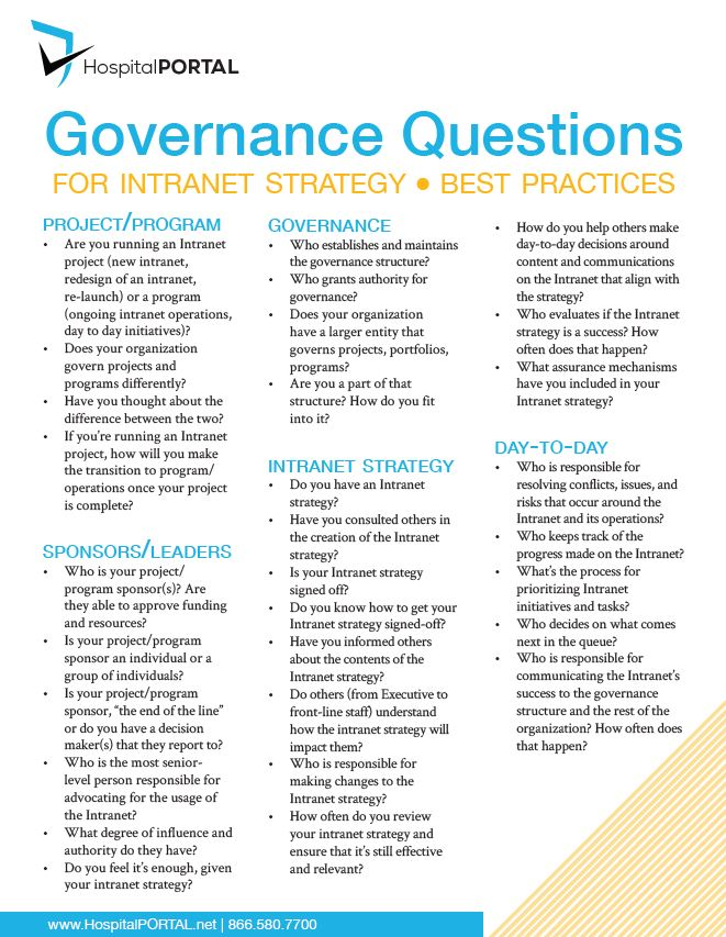 Governance Questions for a Policy Management Strategy in Healthcare