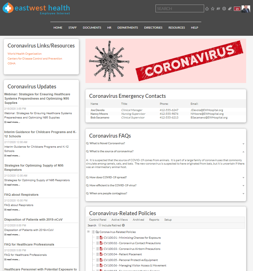 Coronavirus Intranet - Emergency Preparedness Page Example - HospitalPORTAL Intranet