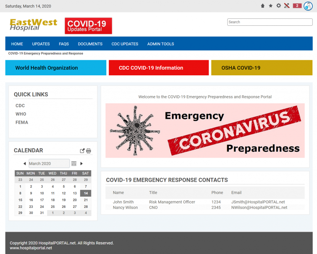 COVID19 Internal Communication Portal For Hospital Staff