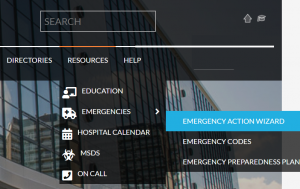 Emergency Section on Hospital's Intranet